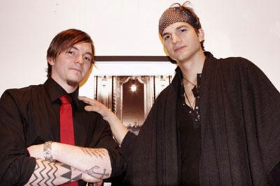 "Cyril Helnwein and Ashton Kutcher Cyril Helnwein's artshow ""The Ethereal"", March 2005"