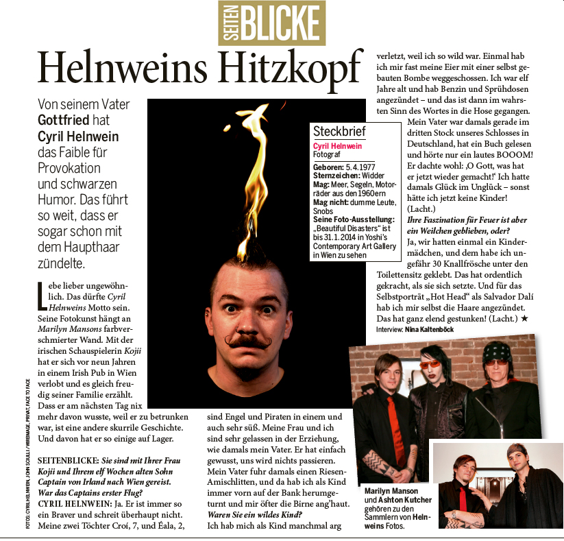 Seitenblicke Magazin (Kurier) interview and article with Cyril Helnwein